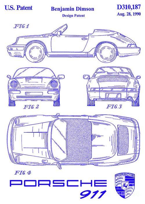 Porsche Patent Greeting Card featuring the photograph 1990 Porsche 911 Patent Blueprint by Jon Neidert