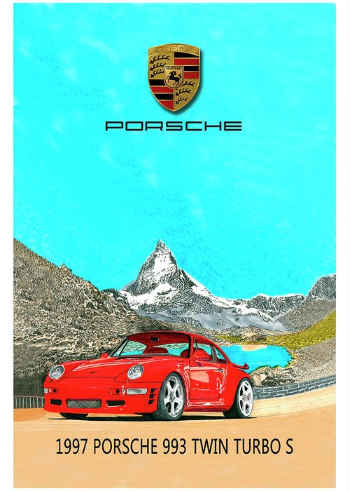Thank You For Buying A Shower Curtain Of 1997 Porsche 993 Twin Turbo R To A Buyer From Phoenix Greeting Card featuring the painting 1997 Porsche 993 Twin Turbo R by Jack Pumphrey