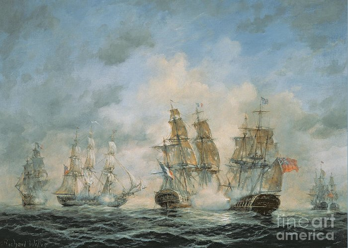 Seascape; Navel; Sea; Ship; Ships; Navel Engagement; Flag; Flags; Cloud; Clouds; Battle; Battling; Sailing; Sailing Ships Greeting Card featuring the painting 19th Century Naval Engagement In Home Waters by Richard Willis