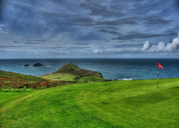Golf Greeting Card featuring the photograph 1st Green Cape Cornwall Golf Club by Chris Thaxter