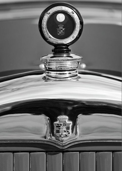 1926 Cadillac Series 314 Custom Greeting Card featuring the photograph 1926 Cadillac Series 314 Custom Hood Ornament by Jill Reger