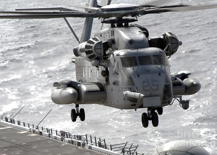 Helicopter Greeting Card featuring the photograph A Ch-53e Super Stallion Helicopter by Stocktrek Images