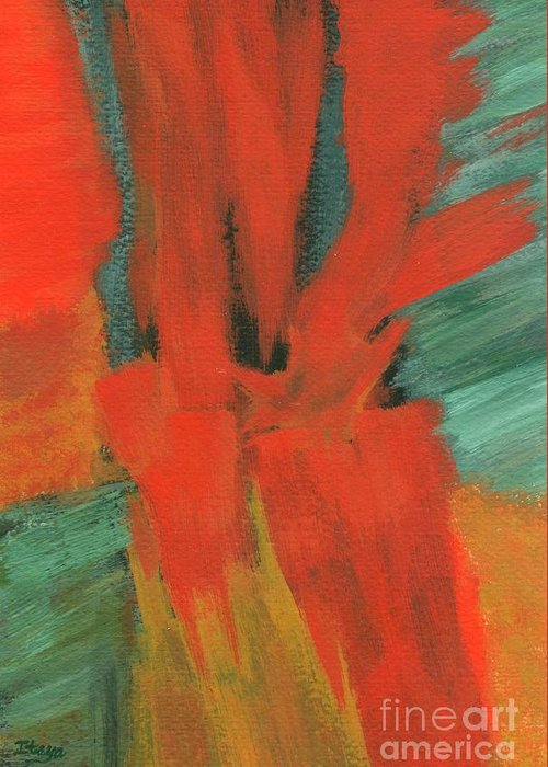 Abstract Greeting Card featuring the painting A Moment In Time by Itaya Lightbourne