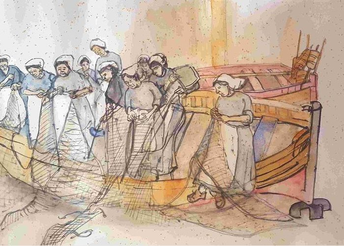 The Netherlands. Fishing Boats. Nets. Women. Sewing. Repairing.  Greeting Card featuring the painting A Netherlands Handscroll by Debbi Saccomanno Chan
