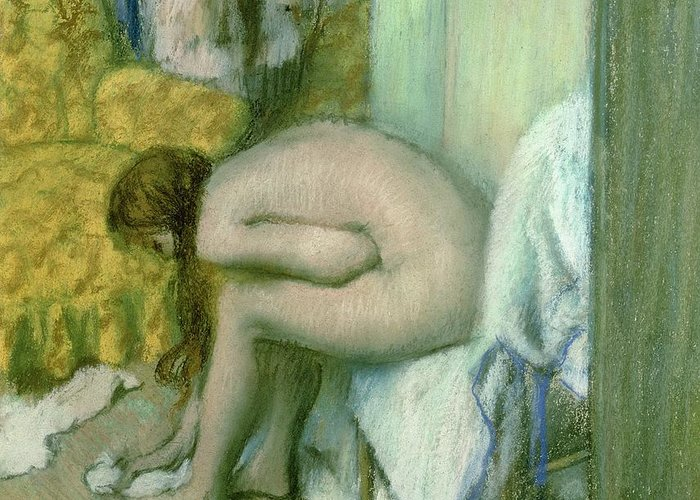 Wet Greeting Card featuring the pastel After The Bath by Edgar Degas