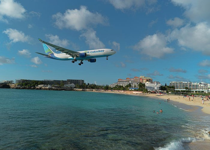 Airlines Greeting Card featuring the photograph Air Caraibes Landing At St. Maarten by David Gleeson