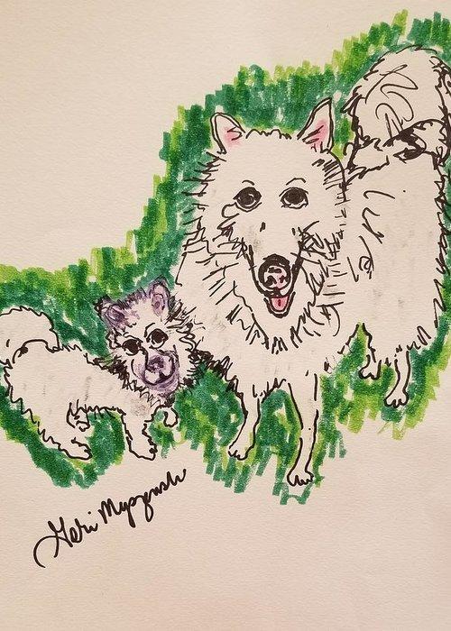 American Eskimo Dog Greeting Card featuring the drawing American Eskimo Dog by Geraldine Myszenski