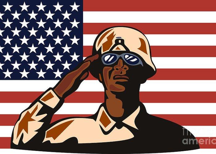 Illustration Greeting Card featuring the digital art American Soldier Saluting Flag by Aloysius Patrimonio