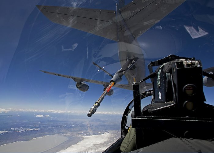 Color Image Greeting Card featuring the photograph An F-15 Eagle Pulls Into Position by HIGH-G Productions