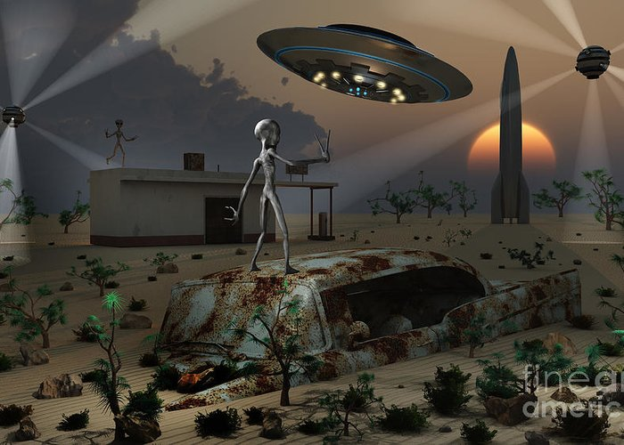 Imagination Greeting Card featuring the digital art Artists Concept Of A Science Fiction by Mark Stevenson