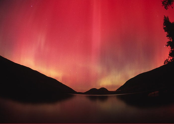 Color Image Greeting Card featuring the photograph Aurora Borealis Over Jordan Pond by Michael Melford