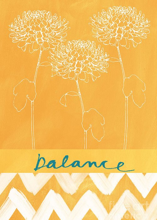 Balance Greeting Card featuring the painting Balance by Linda Woods