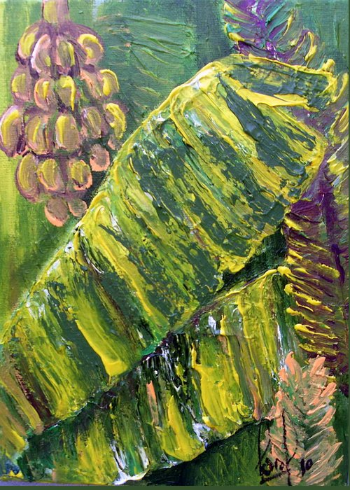 Tropical Greeting Card featuring the painting Banana Leaves by Carol P Kingsley