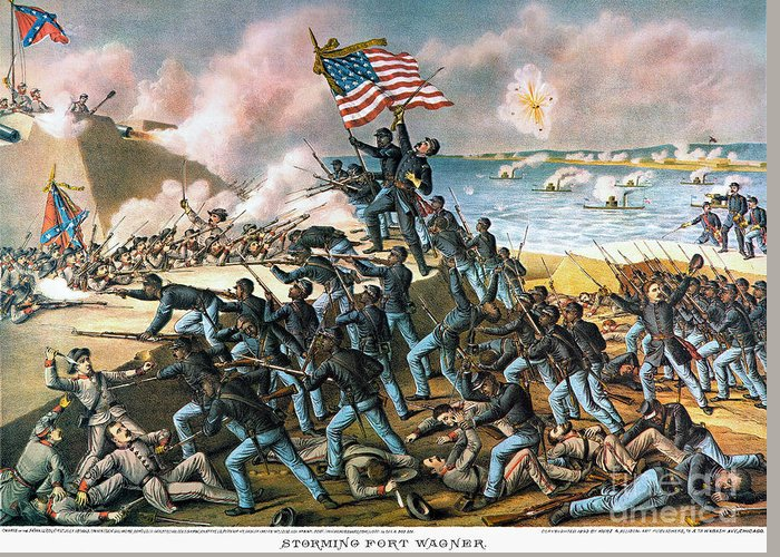 1863 Greeting Card featuring the photograph Battle Of Fort Wagner, 1863 by Granger
