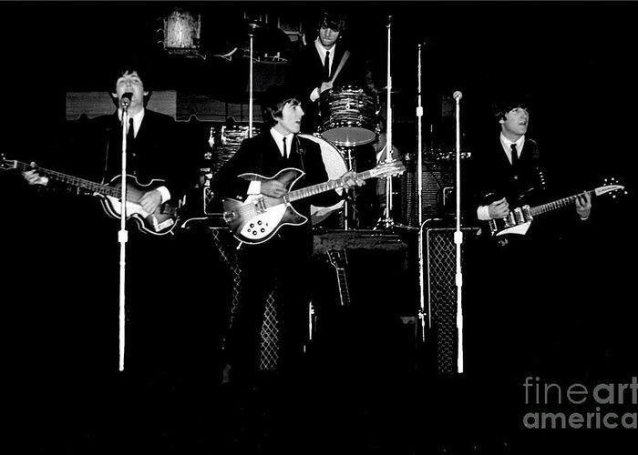 Beatles Greeting Card featuring the photograph Beatles In Concert 1964 by Larry Mulvehill