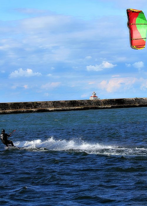 Beautiful Kite Boarding Skiing Water Lake Wave Splash Splashes Lighthouse Clouds Sky Sports Action Colorful Greeting Card featuring the photograph Beautiful Day by Celestial Blue