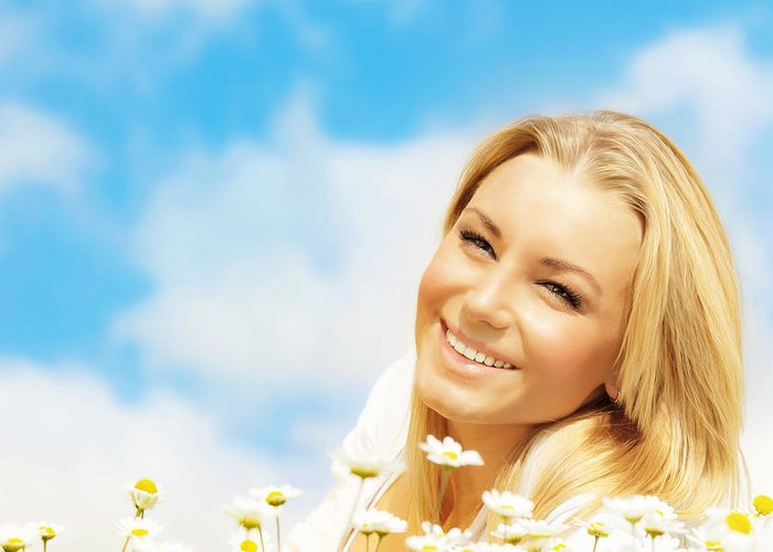 Adult Greeting Card featuring the photograph Beautiful Woman Enjoying Daisy Field And Blue Sky by Anna Om