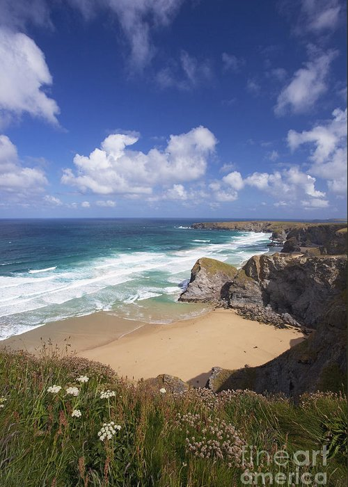 Surf Greeting Card featuring the photograph Bedruthan Steps Beach And Atlantic Surf In Summer Sun Cornwall by Peter Barritt