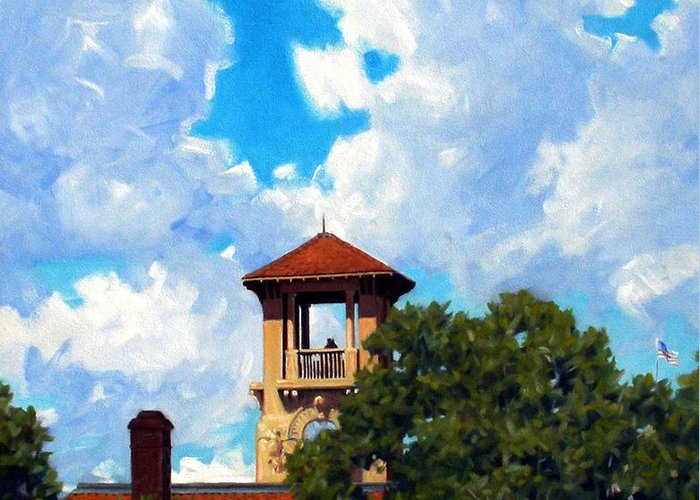 Sky Greeting Card featuring the painting Bell Tower by Kevin Lawrence Leveque