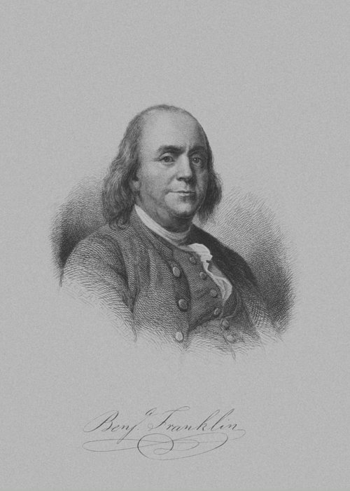 Benjamin Franklin Greeting Card featuring the mixed media Benjamin Franklin by War Is Hell Store