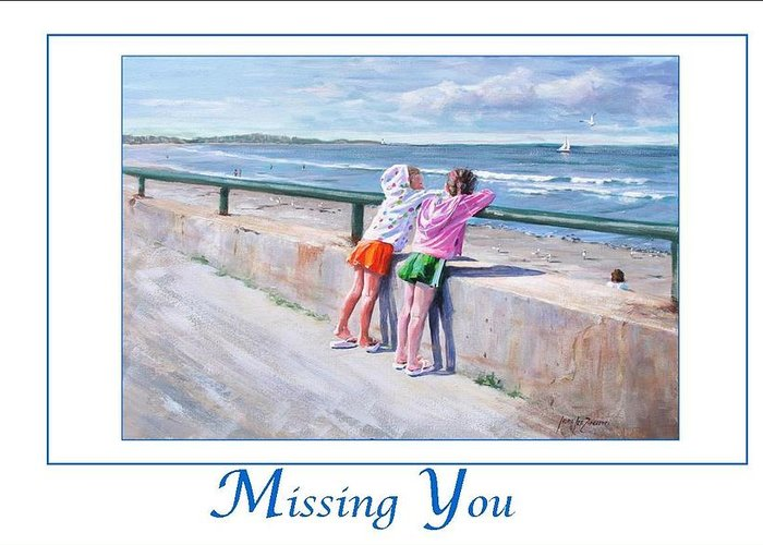 Nantasket Beach Greeting Card featuring the painting Best Friends by Laura Lee Zanghetti