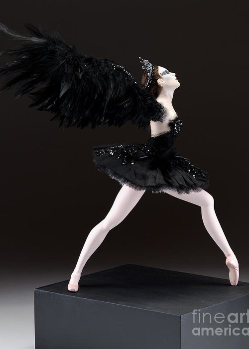 Black Swan Greeting Card featuring the sculpture Black Swan by Vickie Arentz