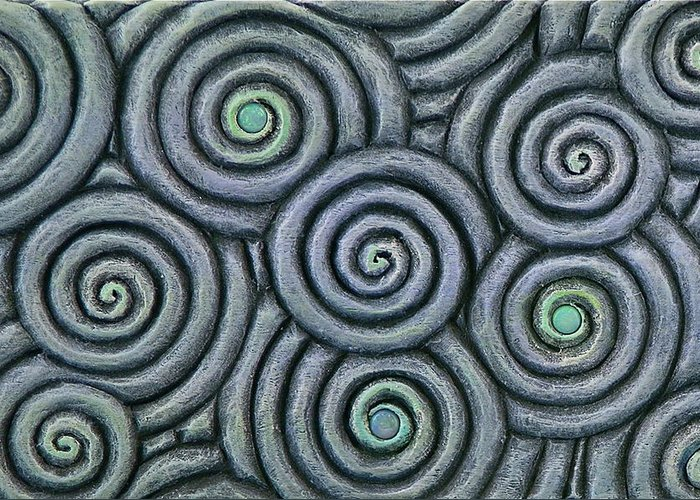 Vesery Greeting Card featuring the sculpture Bleus En Spirale by Jacques Vesery