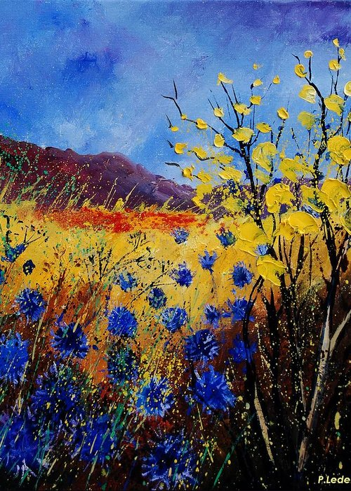 Poppies Flowers Floral Greeting Card featuring the painting Blue Cornflowers by Pol Ledent