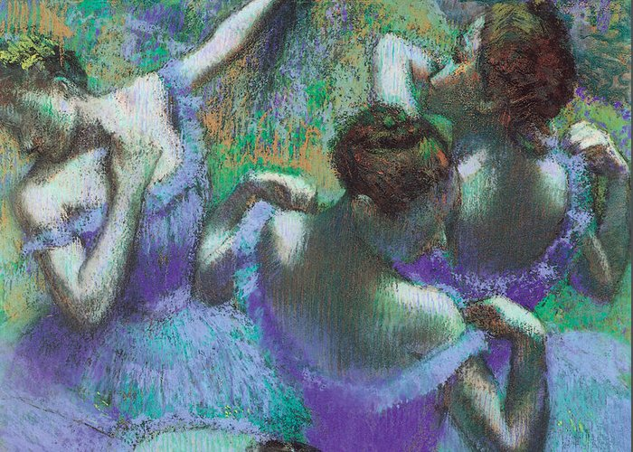 Blue Dancers Greeting Card featuring the pastel Blue Dancers by Edgar Degas
