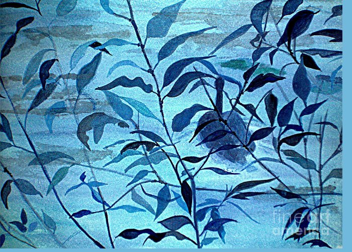 Blue Greeting Card featuring the painting Blue On Blue by Vivian Mosley