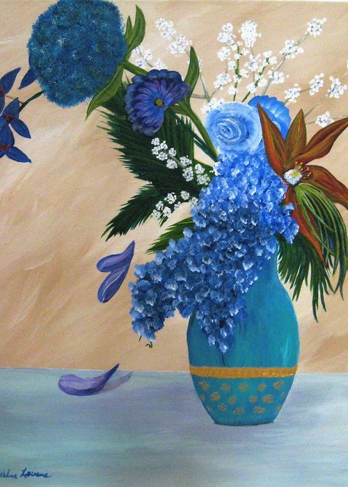 Flowers Greeting Card featuring the painting Blue Passion by Debbie Levene