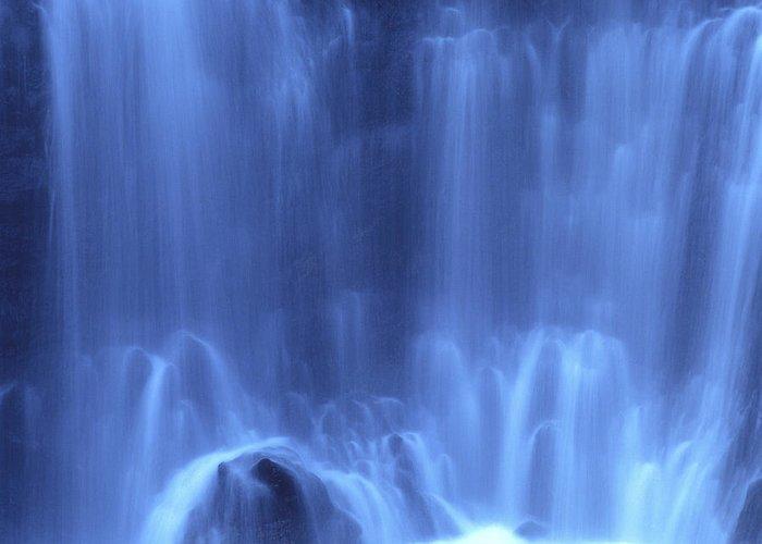 Blue Greeting Card featuring the photograph Blue Waterfall by Bernard Jaubert