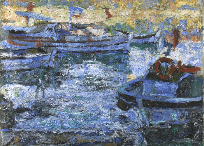 Bay Greeting Card featuring the painting Boats by Robert Nizamov