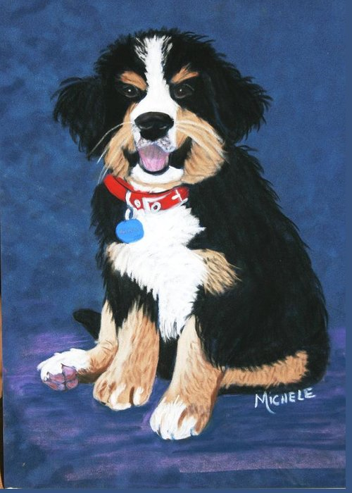 Dogs Greeting Card featuring the pastel Burmese Mountain Pup by Michele Turney