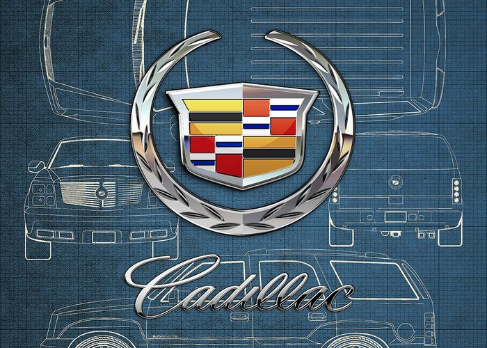 'wheels Of Fortune' By Serge Averbukh Greeting Card featuring the photograph Cadillac 3 D Badge over Cadillac Escalade Blueprint by Serge Averbukh