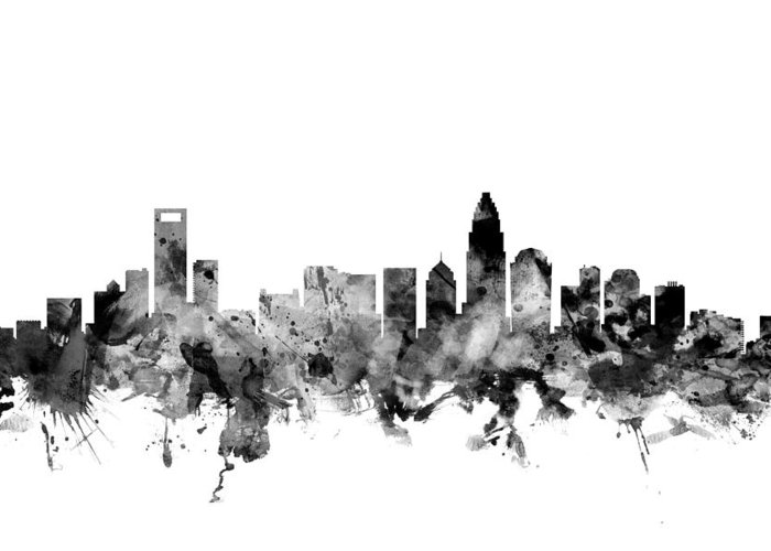 United States Greeting Card featuring the digital art Charlotte North Carolina Skyline by Michael Tompsett