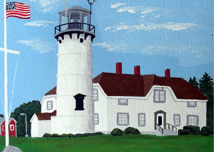 Lighthouse Paintings Greeting Card featuring the painting Chatham Lighthouse by Frederic Kohli