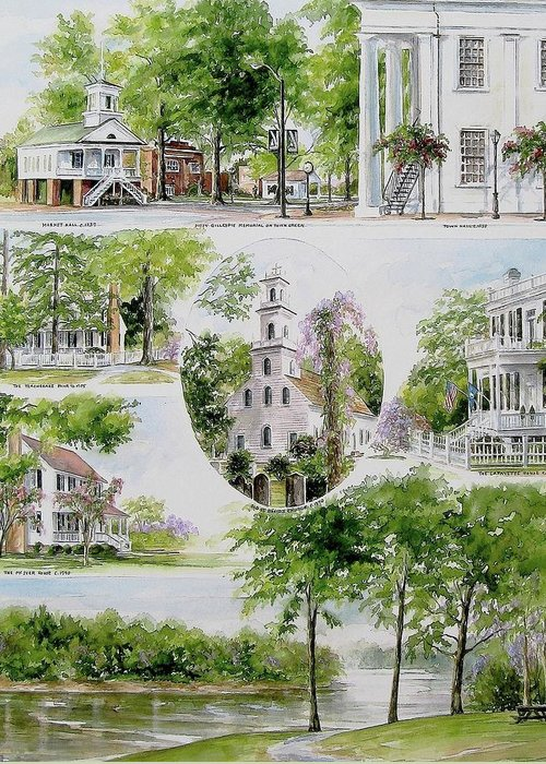 Landscapes Greeting Card featuring the painting Cheraw Collage by Gloria Turner