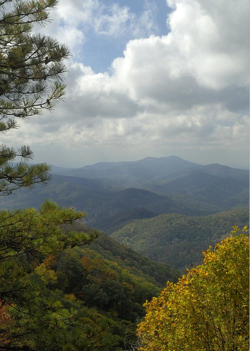 Scenic Greeting Card featuring the photograph Cherohala Skyway In Autumn Color by Darrell Young