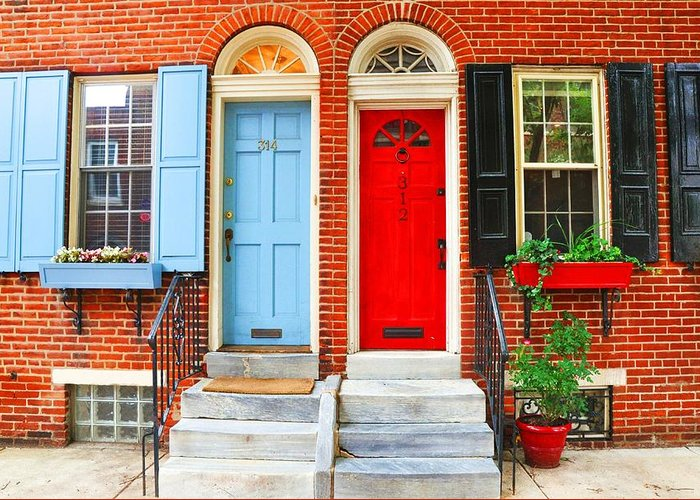 Colonial Greeting Card featuring the photograph Colonial Doors by Andrew Dinh