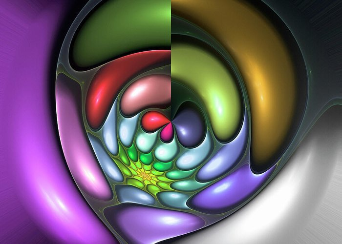 Colorful Abstract Art Design Bubble Flower Spiral Expressionism Color Purple Green Greeting Card featuring the digital art Colorful by Steve K