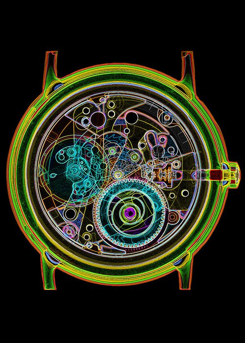 Watch Greeting Card featuring the photograph Coloured X-ray Of A 17-jewel Wrist-watch by D. Roberts