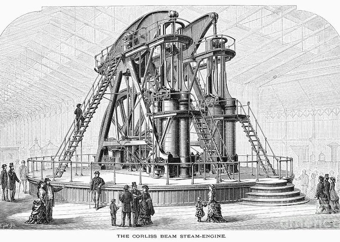 1876 Greeting Card featuring the photograph Corliss Steam Engine, 1876 by Granger
