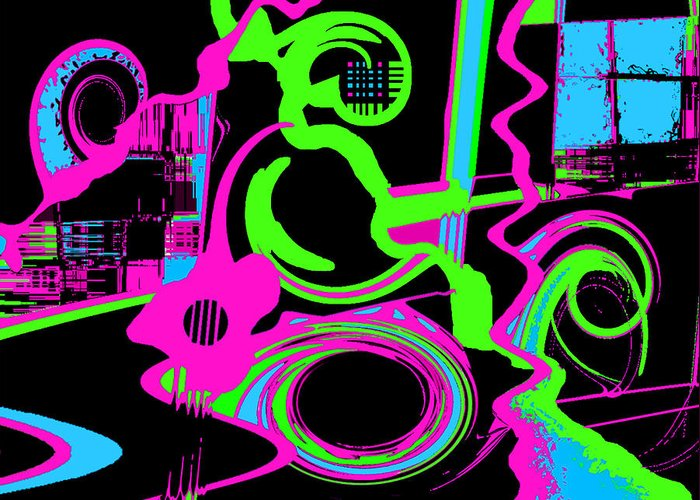 Abstract Greeting Card featuring the digital art Cosmic Dj by Cristophers Dream Artistry