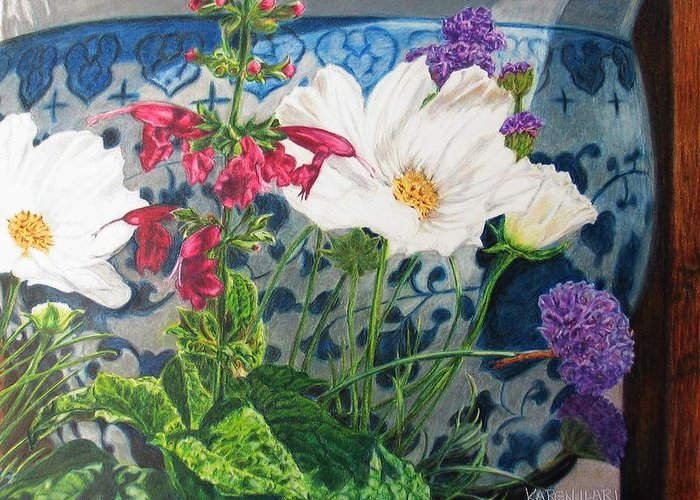 Flowers Greeting Card featuring the painting Cosmos by Karen Ilari