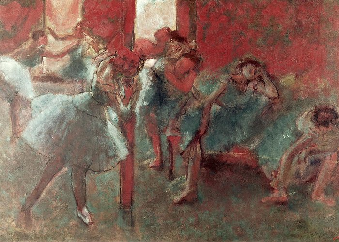 Dancers At Rehearsal Greeting Card featuring the pastel Dancers At Rehearsal by Edgar Degas