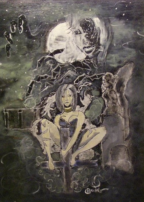 Fantasy Greeting Card featuring the painting Dark Religion by Danial Mcclinton