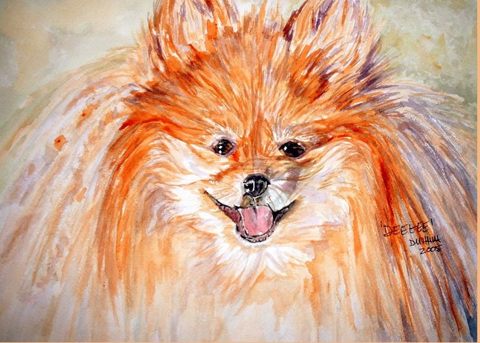 Dog Greeting Card featuring the painting Deegee by Donna Hanna