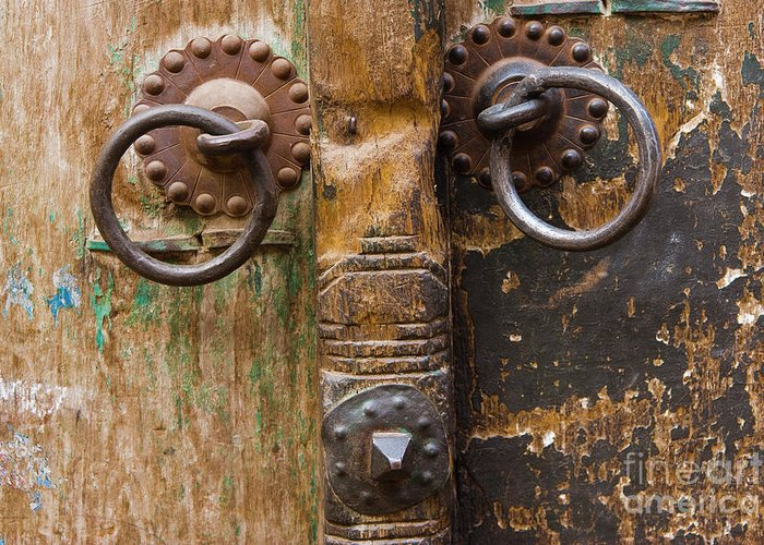 Door Greeting Card featuring the photograph Door Knob by Juan Silva
