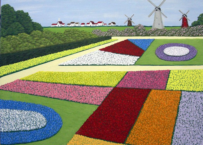 Landscape Paintings Greeting Card featuring the painting Dutch Gardens by Frederic Kohli